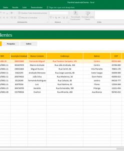 Cadastro de Clientes Excel
