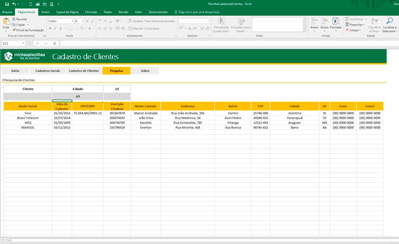 Planilha Cadastro de Clientes Excel