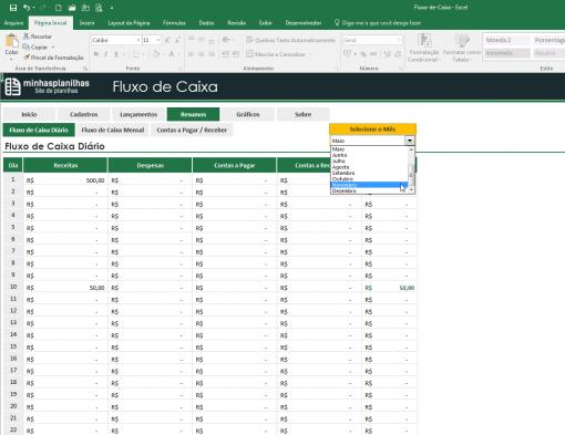 Planilha Fluxo de Caixa Excel
