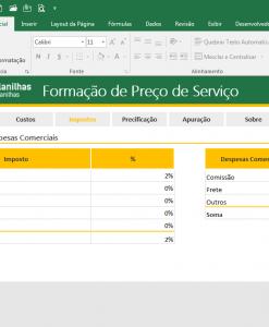 Planilha Excel Formação de Preço de Venda de Serviço