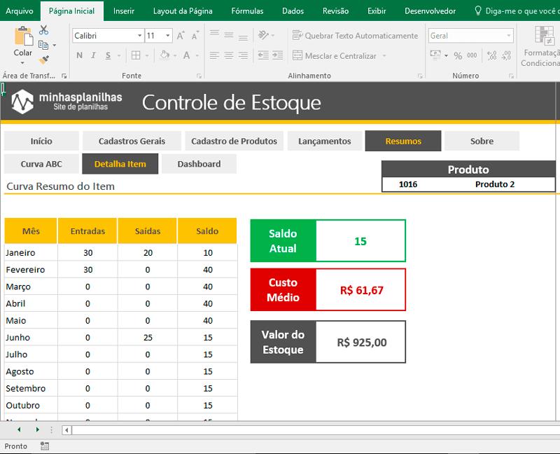Planilha Controle de Estoque Excel